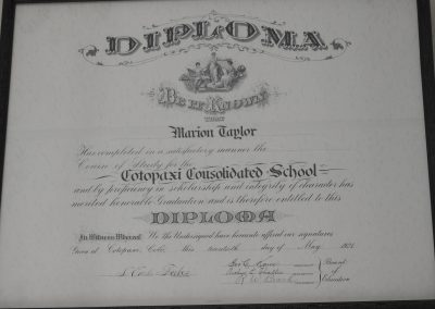 The Marion Taylor 1921 Diploma hangs in a hallway of the Cotopaxi School.