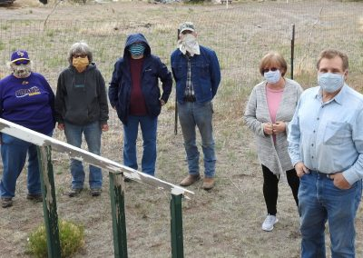WFHS Board Members-(left to right) Betsy Denney, Barb Snyder, Kris Shurr, Craig Leitner, Debbie Hildebrand & Casey Hildebrand meet to prepare the building and grounds for the renovation work.